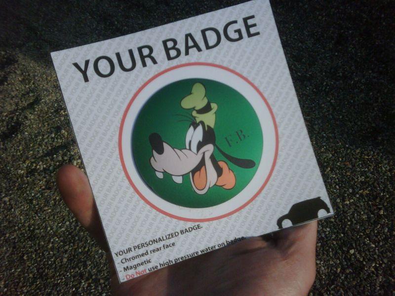 badge Top Quality  personalizzato realizzato su richiesta e grafica del cliente.